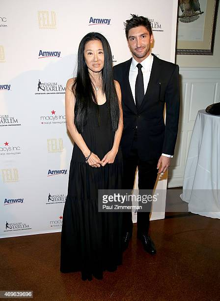 Vera Wang and Evan Lysacek attend the 10th Annual Skating With The Stars Benefit Gala at 583 Park Avenue on April 13, 2015 in New York City.
