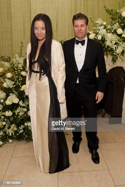 Vera Wang and guest attend the British Vogue and Tiffany Co Fashion and Film Party at Annabel's on February 2 2020 in London England