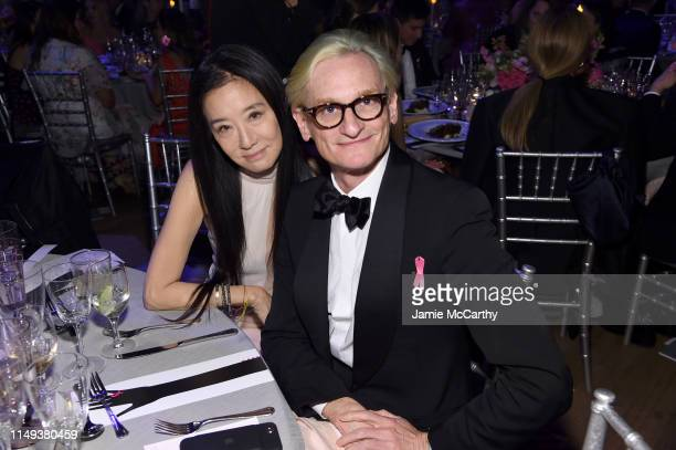 Vera Wang and Hamish Bowles attend the Hot Pink Party hosted by the Breast Cancer Research Foundation at Park Avenue Armory on May 15 2019 in New...