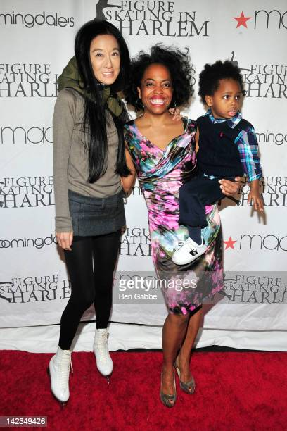Vera Wang Rhonda Ross and son RaifHenok Kendrick attend the 2012 Skating with the Stars gala at theWollman Rink Central Park on April 2 2012 in New...