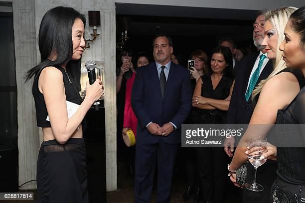 Vera Wang speaks at the Vera Wang LOVE holiday cocktail soiree at Betony on December 7 2016 in New York City