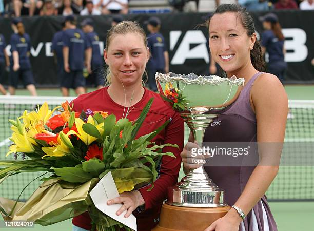 Vera Zvonareva and Jelena Jankovic after the final round of the ASB Classic 2007 at the ASB Tennis Centre in Auckland New Zealand on January 6 2007