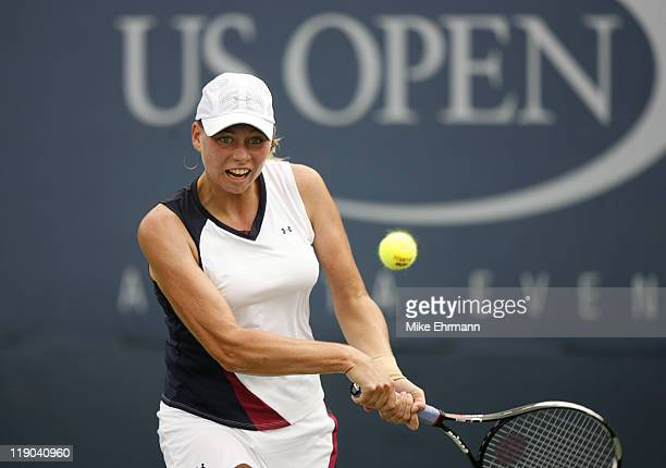 Vera Zvonareva during a first round match against Marta Domachowska at the 2006 US Open at the USTA National Tennis Center in Flushing Queens NY on...