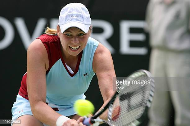 Vera Zvonareva in action during the final match of the ASB Classic 2007 between Jelena Jankovic and Vera Zvonareva at the ASB Tennis Centre in...