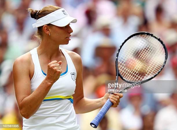 Vera Zvonareva of Russia celebrates a point during the Ladies Semi Final match against Tsvetana Pironkova of Bulgaria on Day Ten of the Wimbledon...