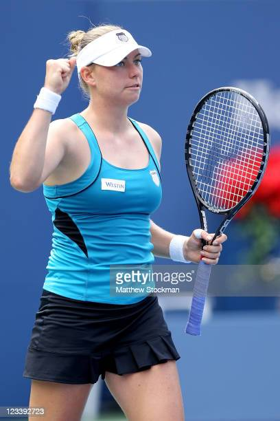 Vera Zvonareva of Russia celebrates after defeating Anabel Medina Garrigues of Spain during Day Five of the 2011 US Open at the USTA Billie Jean King...