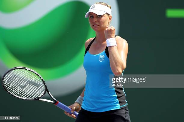 Vera Zvonareva of Russia celebrates after she won match point against Agnieszka Radwanska of Poland during the Sony Ericsson Open at Crandon Park...