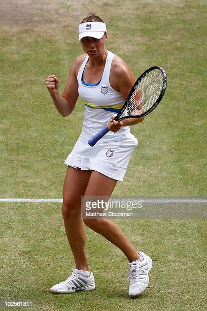 Vera Zvonareva of Russia celebrates match point during the Ladies Semi Final match against Tsvetana Pironkova of Bulgaria on Day Ten of the Wimbledon...