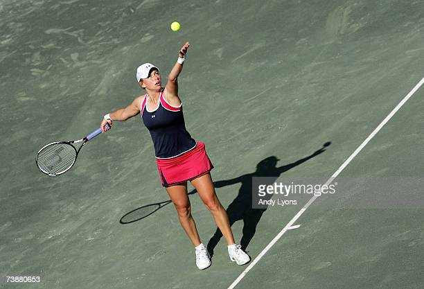 Vera Zvonareva of Russia hits a serve in her 6175 win over Michaella Krajicek of the Netherlands during the Family Circle Cup at the Family Circle...