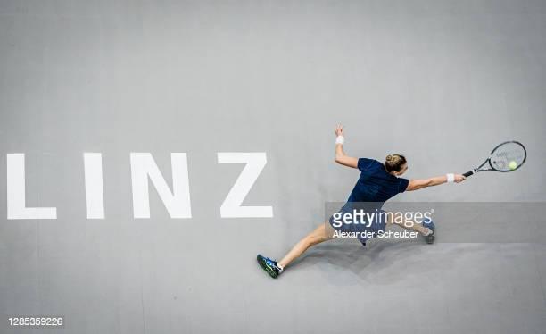 Vera Zvonareva of Russia in action during the Upper Austria Ladies Linz Day 4 at TipsArena Linz on November 12, 2020 in Linz, Austria.
