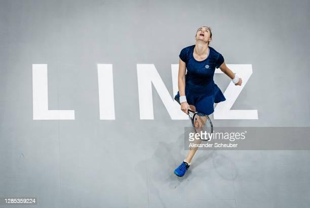 Vera Zvonareva of Russia is disappointed during the Upper Austria Ladies Linz Day 4 at TipsArena Linz on November 12, 2020 in Linz, Austria.