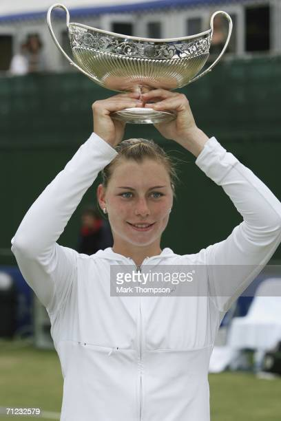 Vera Zvonareva of Russia poses with the Maud Watson trophy after her victory over Jamea Jackson of the USA in the final of the DFS Classic at...