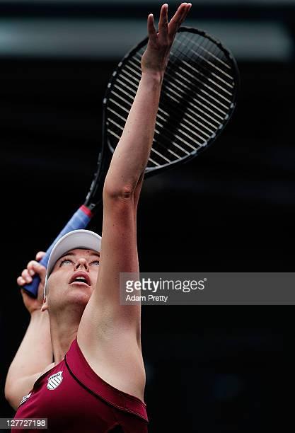 Vera Zvonareva of Russia prepares to serve in the final match between Angnieszka Radwanska of Poland and Vera Zvonareva of Russia during day seven of...
