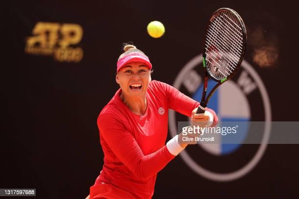 Vera Zvonareva of Russia returns a backhand on day 5 of the the Internazionali BNL d'Italia match between Petra Kvitova of Czech Republic and Vera...