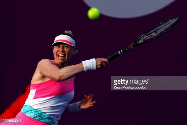 Vera Zvonareva of Russia returns a forehand against Zheng Saisai of China during Day 3 of the WTA Qatar Total Open 2020 at Khalifa International...