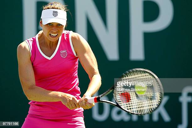 Vera Zvonareva of Russia returns a shot to Samantha Stosur of Australia during the BNP Paribas Open on March 16 2010 at the Indian Wells Tennis...