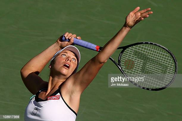 Vera Zvonareva of Russia serves against Kaia Kanepi of Estonia during her women's singles quarterfinal match on day ten of the 2010 US Open at the...