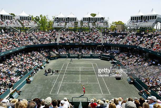 Vera Zvonareva of Russia serves to Venus Williams during the Family Circle Cup April 16 at the Family Circle Cup Tennis Center in Charleston South...
