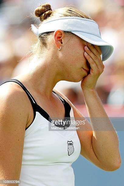 Vera Zvonareva of Russia wipes her eyes between points while playing Caroline Wozniacki of Denmarkl during the final of the Rogers Cup at Stade...