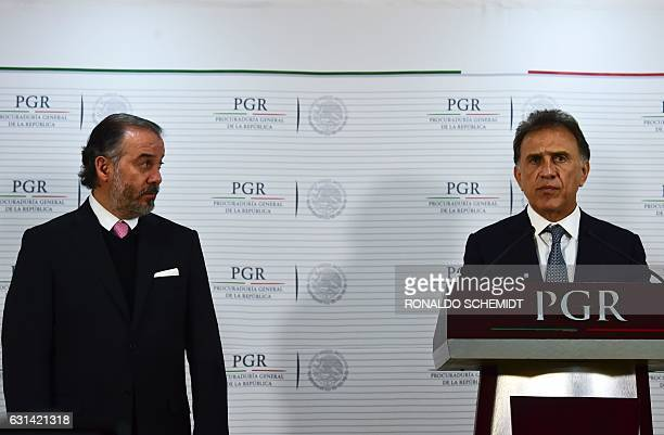 Veracruz´ governor Miguel Yunez speaks next to Mexican General Attorney Raul Cervantes during a press conference about Veracruz state former governor...
