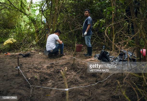Veracruz municipal employees work at the site of a mass grave where authorities discovered at least 166 bodies since exhumations began on August 8 at...