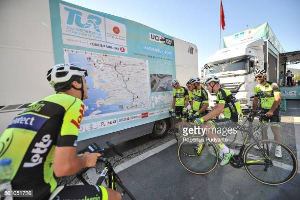 Veranclassic Aquality Protect Belgium cyclists learn the map during Stage 4 of the 53rd Presidential Cycling Tour of Turkey 2017 Marmaris to Selcuk...