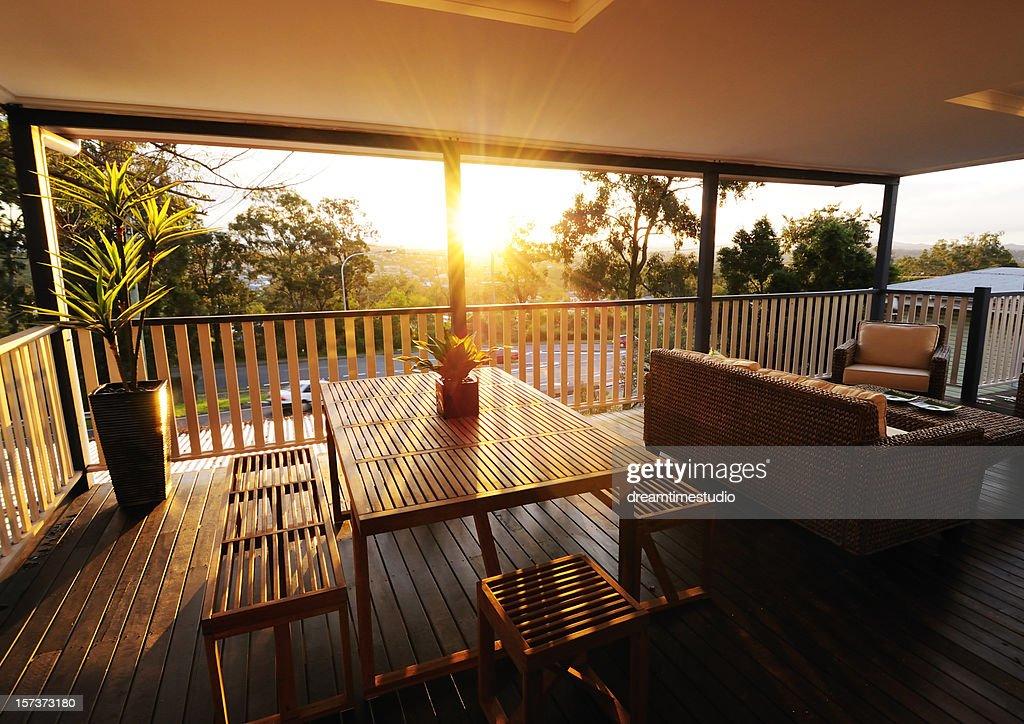 Veranda at sunset : Stock Photo