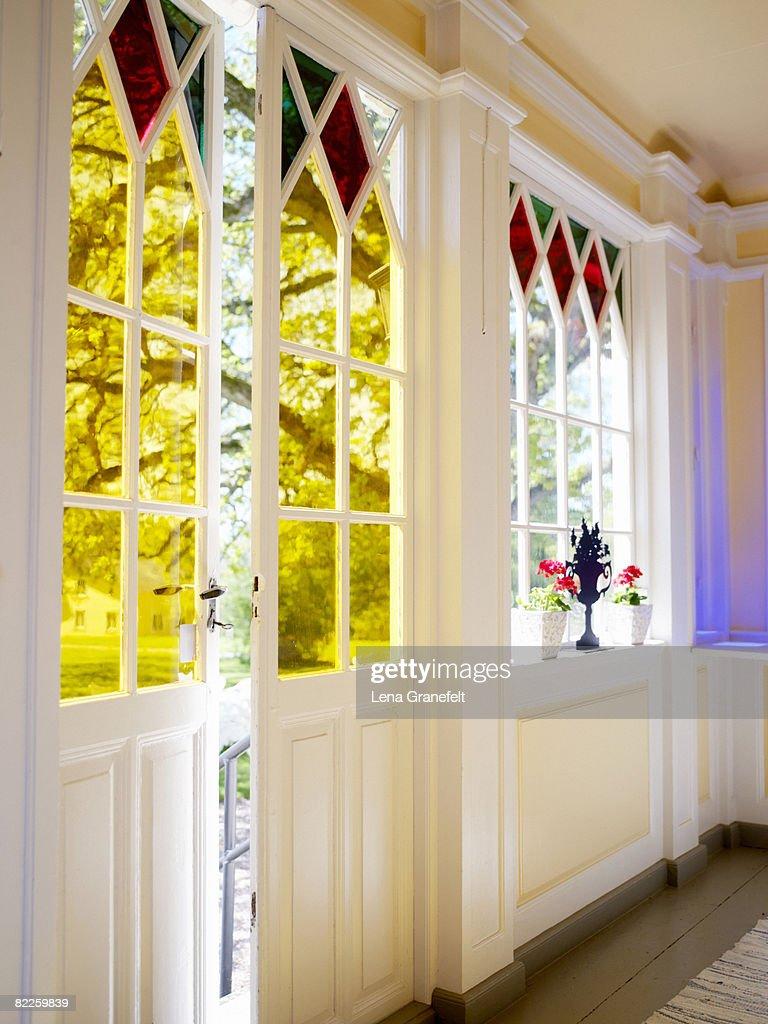 A veranda on a manor house Sweden. : Stock Photo