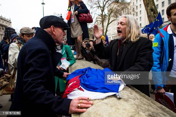 Verbal confrontation between a Brexit supporter and an opponent in London, England as Britain left the European Union on Friday, January 31, 2020....