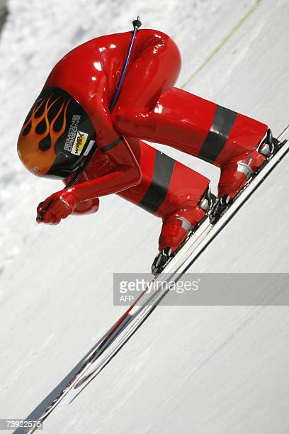 Simone Origone of Italy competes on his way to capture the gold at the FIS Speed Skiing World Championships, 19 April 2007 in the Swiss Alps resort...