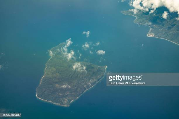 Verde Island in Batangas city in Province of Batangas in Philippines daytime aerial view from airplane daytime aerial view from airplane