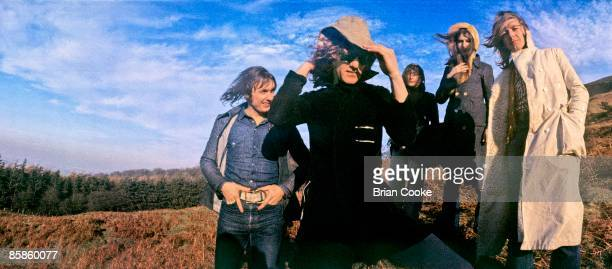 Verden Allen, Ian Hunter, Buffin, Overend Watts, Mick Ralphs, Mott The Hoople pose for their Wildlife album cover on Carlton Bank in the Cleveland...