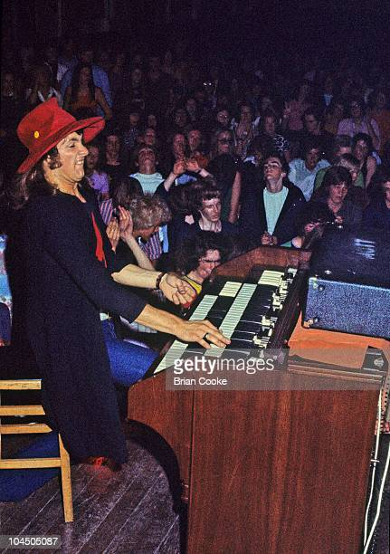 Verden Allen of Mott The Hoople performs on stage at Birmingham Town Hall on December 26 1970. He plays a Hammond Organ.