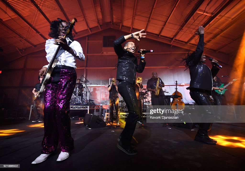 Verdine White and B. David Whitworth perform onstage at will.i.am's i.am.angel Foundation TRANS4M 2018 Gala, Honoring Sean Parker, Chairman, Parker Institute for Cancer Immunotherapy at Milk Studios on February 20, 2018 in Hollywood, California.