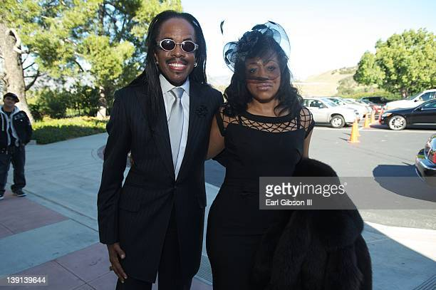 Verdine White and Miki Howard arrive at the Memorial Service of Don Cornelius on February 16 2012 in Los Angeles California