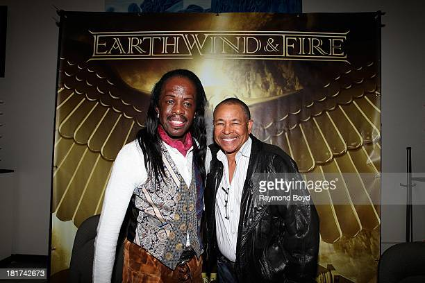 Verdine White and Ralph Johnson of Earth Wind Fire poses for photos at the end of The Experience With Earth Wind Fire at the DuSable Museum in...