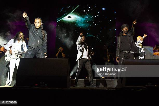 Verdine White B David Whitworth Philip Bailey and Philip Bailey Jr of Earth Wind And Fire perform at The O2 Arena on July 1 2016 in London England