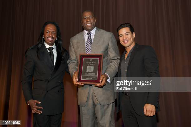 Verdine White Magic Johnson and Mario Lopez share in a proud moment as Earvin Magic Johnson is honored at the 2010 Heroes High Hopes Dinner sponsored...