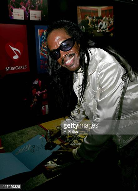 Verdine White of Earth Wind and Fire during The 49th Annual GRAMMY Awards MusiCares Signings Day 3 at Staples Center in Los Angeles California United...