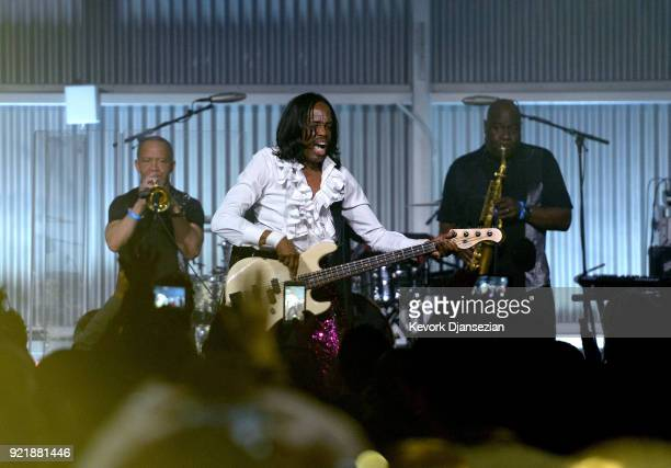Verdine White of Earth Wind Fire performs onstage at william's iamangel Foundation TRANS4M 2018 Gala Honoring Sean Parker Chairman Parker Institute...