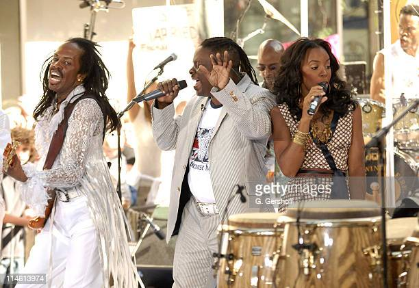 Verdine White Philip Bailey and Kelly Rowland during Earth Wind and Fire with Kelly Rowland Perform on NBC's The Today Show Summer Concert Series...
