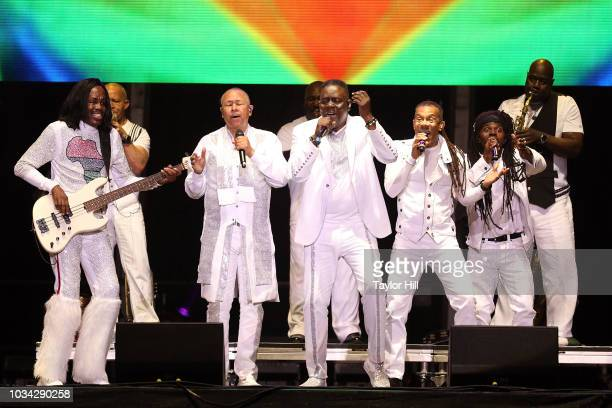 Verdine White Philip Bailey and Ralph Johnson of Earth Wind and Fire perform during the 2018 KAABOO Music Festival at Del Mar Fairgrounds on...