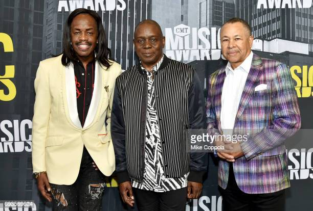 Verdine White Philip Bailey and Ralph Johnson of Earth Wind and Fire attend the 2017 CMT Music Awards at the Music City Center on June 7 2017 in...