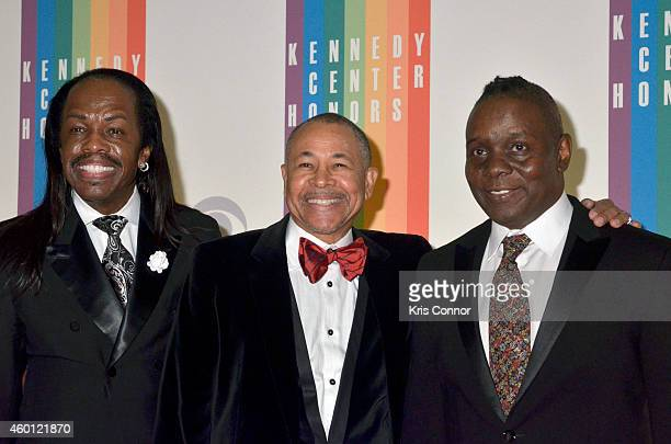 Verdine White Ralph Johnson and Philip Bailey of Earth Wind and Fire walk the red carpet during the 27th Annual Kennedy Center Honors at John F...