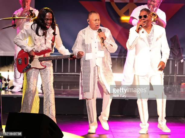 Verdine White, Ralph Johnson, and Philip Bailey of Earth, Wind & Fire perform onstage at the 28th Annual Race To Erase MS: Drive-In Gala at Rose Bowl...