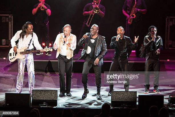 Verdine White, Ralph Johnson and Philip Bailey of Earth Wind & Fire perform on stage at Echo Arena on September 9, 2014 in Liverpool, United Kingdom.