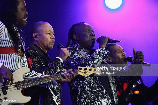 Verdine White Ralph Johnson and Philip Bailey of 'Earth Wind Fire' perform during Proms In The Park at Hyde Park on September 13 2014 in London...