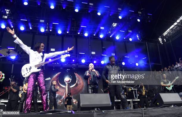 Verdine White Ralph Johnson Philip Bailey and B David Whitworth of Earth Wind Fire perform during the 2018 BottleRock Napa Valley at Napa Valley Expo...