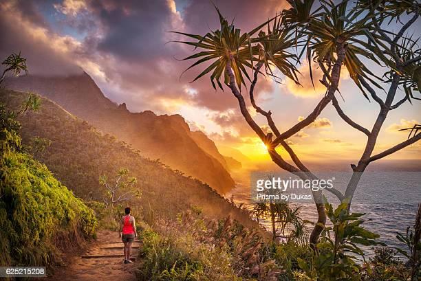 USA Vereinigte Staaten Amerika Hawaii Island Kauai Hanalei Na Pali Coast sunset at Na Pali Coast MR 0009