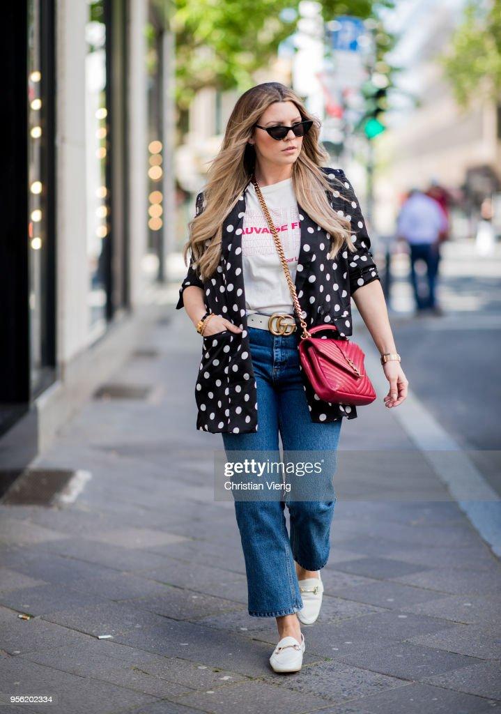 b26122fe66a7d Verena Ahmann wearing a white black satin dots long blazer from ...